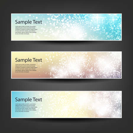 gloss banner: Horizontal Header, Banner Set for Christmas, New Year or Other Holidays, Cover or Background Designs - Colors: Brown, Blue, Orange