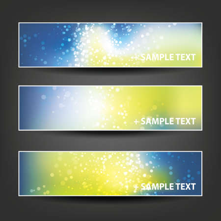 blue party: Set of Horizontal Banner or Header Background Designs - Colors: Blue, Yellow, White - For Party, Christmas, New Year or Other Holidays, Ad Templates Illustration