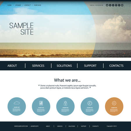 page layout: Website Design Template for Your Business with Beach Image Background Illustration