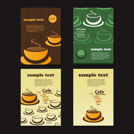 cup four: Set of Four Creative Card, Flyer or Book Cover Designs with Abstract Coffee Cup Pattern Backgrounds