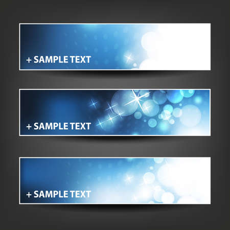 horizontal: Horizontal Header, Banner Set for Christmas, New Year or Other Holidays, Cover or Background Designs - Colors: Blue, White Illustration