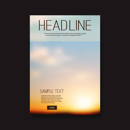 perspectives: Flyer or Cover Design with Blurry Sunset Background