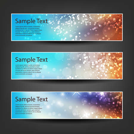 Set of Horizontal Banner or Header Background Designs - Colors: Blue, Brown, White - For Party, Christmas, New Year or Other Holidays, Ad Templates