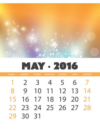 monthly calendar: Monthly Calendar: May 2016 Template with Colorful Abstract Background