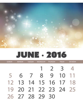 calendar: Monthly Calendar: June 2016 Template with Colorful Abstract Background