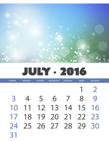 monthly calendar: Monthly Calendar: July 2016 Template with Colorful Abstract Background