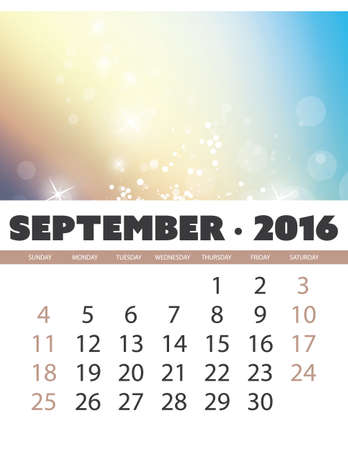 calendar september: Monthly Calendar: September 2016 Template with Colorful Abstract Background