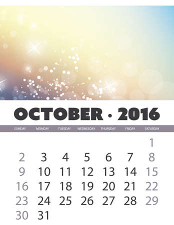 calendar october: Monthly Calendar: October 2016 Template with Colorful Abstract Background