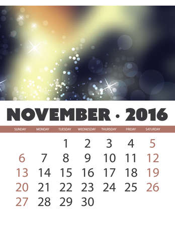 monthly calendar: Monthly Calendar: November 2016 Template with Colorful Abstract Background