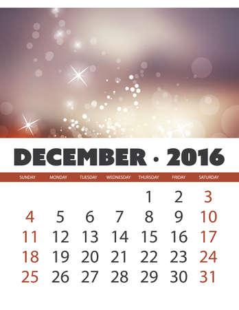 calendario diciembre: Calendario mensual: diciembre 2016 Plantilla con colores de fondo abstracto