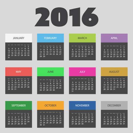 calendar design: Colorful Calendar Design - Year 2016