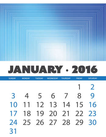 monthly calendar: Monthly Calendar: January 2016 Template with Colorful Abstract Background