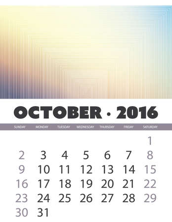 calendar october: Monthly Calendar: October 2016 Template with Colorful Abstract Background Illustration