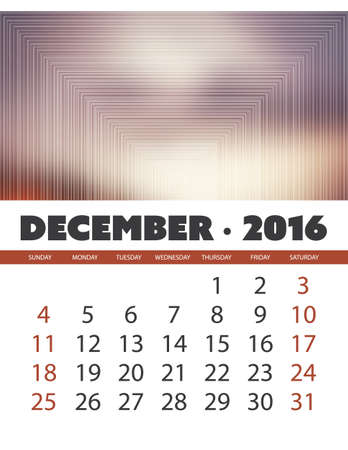 december background: Monthly Calendar: December 2016 Template with Colorful Abstract Background - Vector Illustration