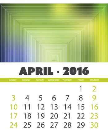 4월: Monthly Calendar: April 2016 Template with Colorful Abstract Background