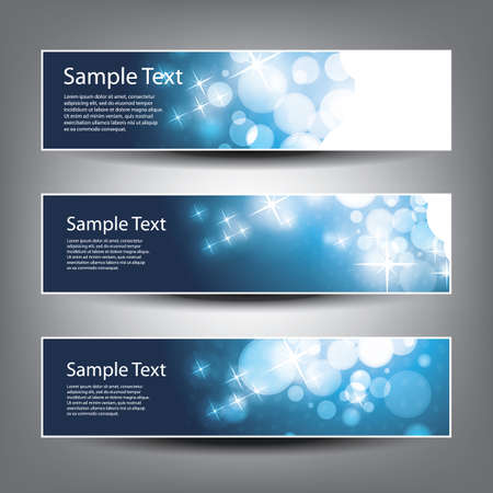 bokeh background: Horizontal Header, Banner Set for Christmas, New Year or Other Holidays, Cover or Background Designs - Colors: Blue, White Illustration