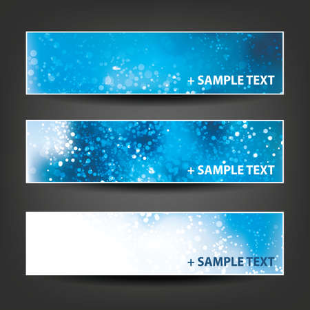 christmas banner: Horizontal Header, Banner Set for Christmas, New Year or Other Holidays, Cover or Background Designs - Colors: Blue, White Illustration