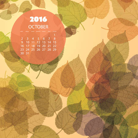 monthly calendar: Monthly Calendar for 2016 October - Fallen Leaves Illustration