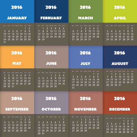 full time: Simple Colorful Calendar Design for Year 2016 Illustration