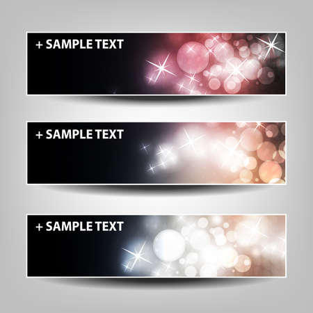 Set of Horizontal Banner or Header Background Designs - Colors:  Black, Pink, White - For Party, Christmas, New Year or Other Holidays, Ad Templates