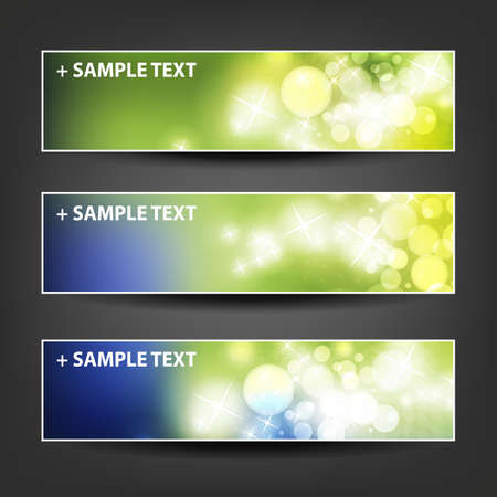 green banner: Set of Horizontal Banner or Header Background Designs - Colors:  Green, Blue, White - For Party, Christmas, New Year or Other Holidays, Ad Templates