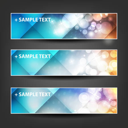 background banner: Set of Horizontal Banner or Header Designs for Christmas, New Year or Other Holidays with Colorful Checked Pattern Background Illustration