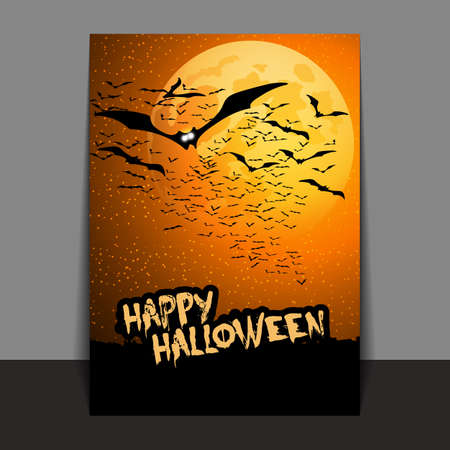 flying bats: Halloween Flyer or Cover Design with Lots of Flying Bats Over the Night Field in the Darkness Under the Starry Sky and Yellow Moon Illustration