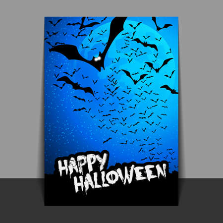 flying bats: Halloween Flyer or Cover Design with Lots of Flying Bats Over the Night Field in the Darkness Under the Starry Sky and Blue Moon Illustration