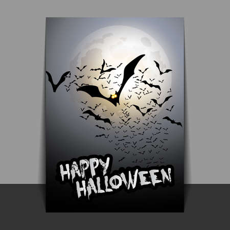 flying bats: Halloween Flyer or Cover Design with Lots of Flying Bats Over the Night Field in the Darkness Under the Sky and Full Moon