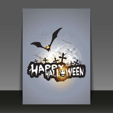 flying bats: Happy Halloween Card, Flyer or Cover Template with Flying Bats Over Dark Crosses Under Full Moon - Vector Illustration