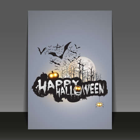 halloween message: Flying Bats Over the Autumn Woods and Various Spooky Creatures with Glowing Eyes Illustration