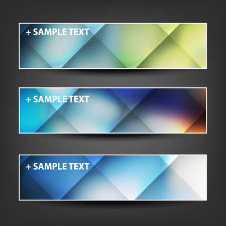 checked: Set of Horizontal Banner or Header Designs with Colorful Checked Pattern Background