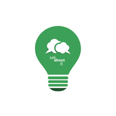eco energy: Green Eco Energy Concept Icon - Talk About Sustainable Development - Speech Bubble Inside a Bright Lightbulb - Vector Clip-Art Template Illustration