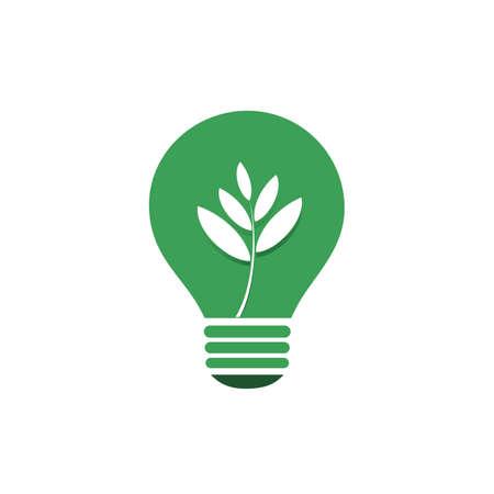 welfare plant: Green Eco Energy Concept Icon - Plant Inside a Light Bulb
