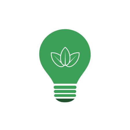 eco energy: Green Eco Energy Concept Icon - Leaves Inside a Light Bulb Illustration