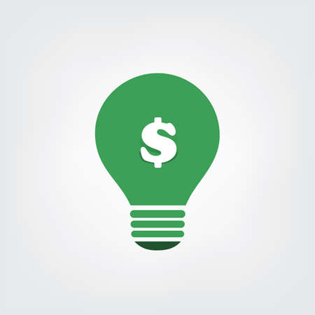eco energy: Green Eco Energy Concept Icon - Save Money with Green Energy Illustration