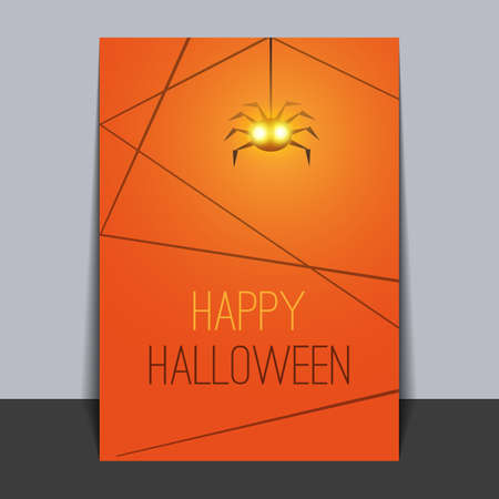 graves: Halloween Card Template with Hanging Spider