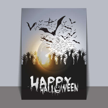 flying bats: Halloween Card Template with Flying Bats and Spider with Glowing Eyes