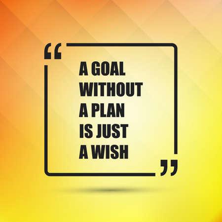 oracion: Cita inspirada - Una meta sin un plan es sólo un deseo en un fondo amarillo abstracto Vectores