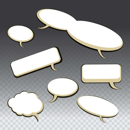 round icons: Set of Seven Different Black and White Speech And Thought Bubbles