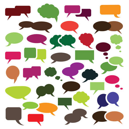 word bubble: Collection of Colorful Speech And Thought Bubble Vector Designs