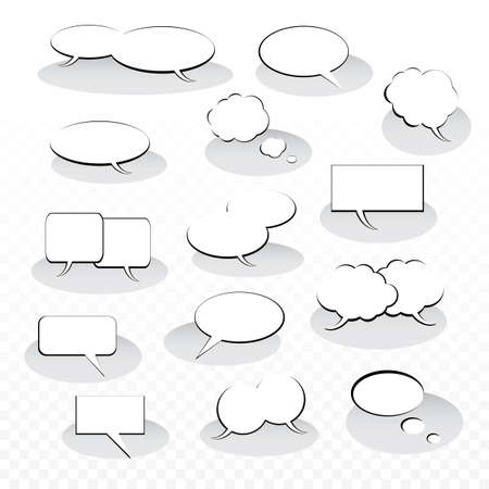 Collection of Black And White Speech And Thought Bubble Vector Designs Illustration