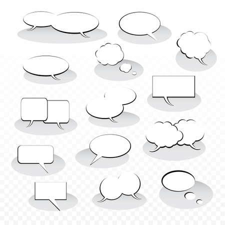 wort: Sammlung von Schwarzweiß-Sprech- und Denkblase Vector Designs