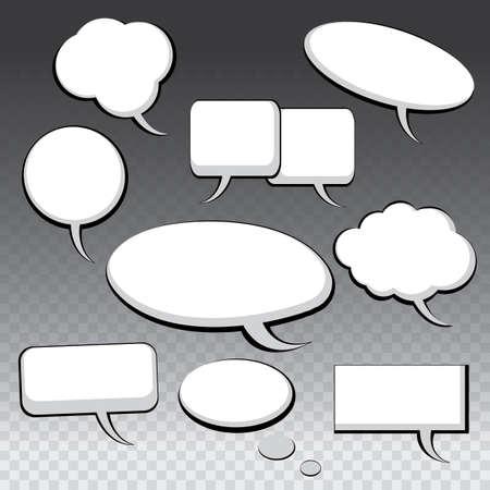 ovalo: Nueve diversas Blanco y Negro Discurso y pensamiento Bubbles Vectores