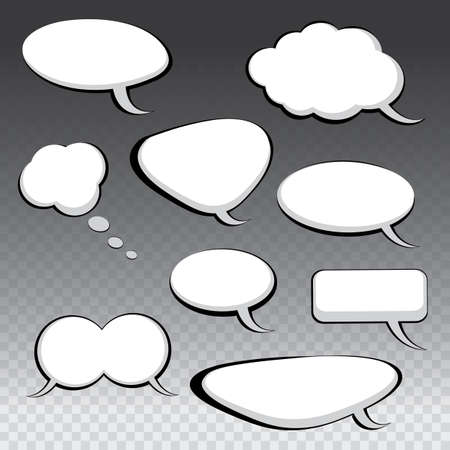 chat: Nine Different Black and White Speech And Thought Bubbles
