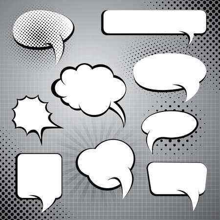 chat bubbles: Nine Different Black and White Comic Style Speech And Thought Bubbles