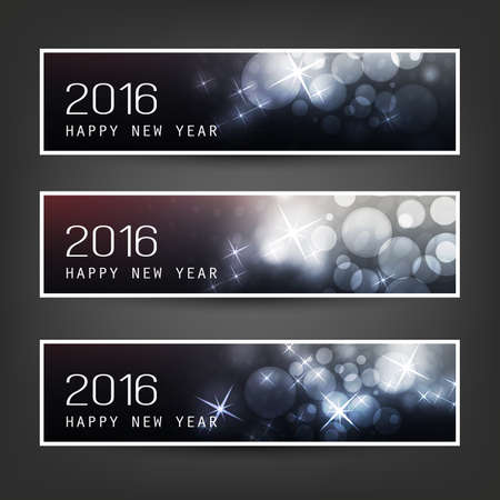 banner effect: Set of Horizontal New Year Banners for Year 2016 Illustration