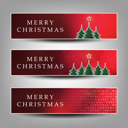 horizontal: Merry Christmas - Set of Red Horizontal Banner Background Designs