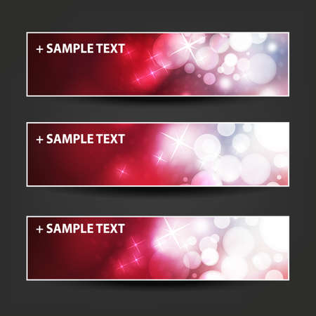 horizontal: Set of Horizontal Banner or Header Designs - Colors: Purple, Red, White - For Christmas, New Year or Other Holidays, Ad Templates