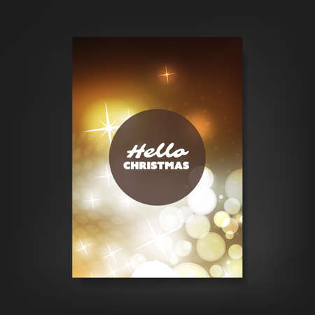 gold silver: Hello Christmas - Flyer, Card or Cover Design with Sparkling Pattern Background - Corporate Identity, Christmas, New Year or Ad Design Template Illustration